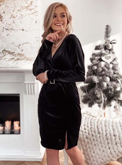 Welurowa sukienka z paskiem czarna 4