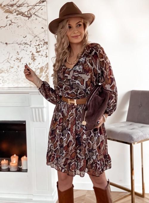 Sukienka z dekoltem i żabotem Nolle