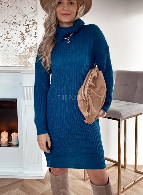 Sukienka z golfem Rena w kolorze turkusowym 1