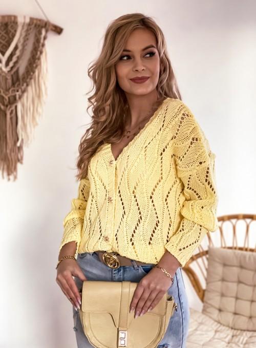 Sweter Pami rozpinany bananowy 3