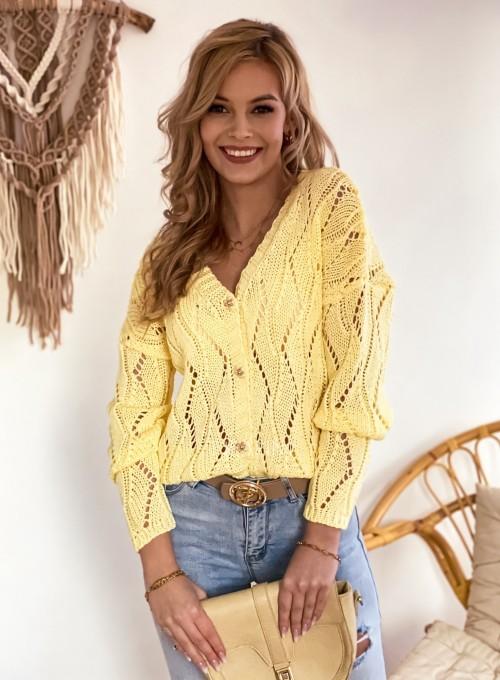 Sweter Pami rozpinany bananowy 4