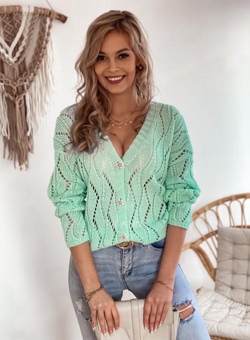Sweter Pami rozpinany miętowy
