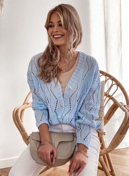 Sweter Pami rozpinany błękitny 2