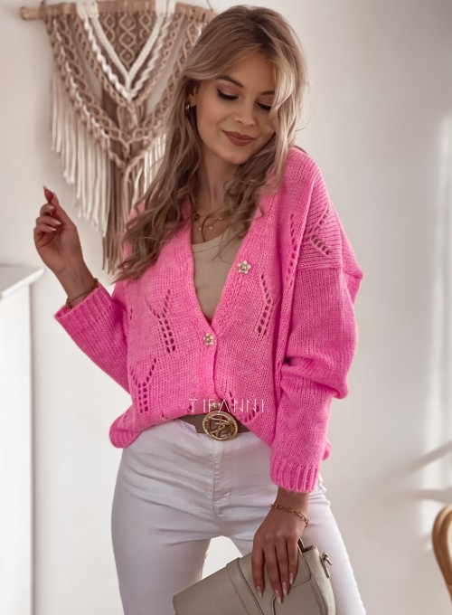 Sweter Casil rozpinany pink