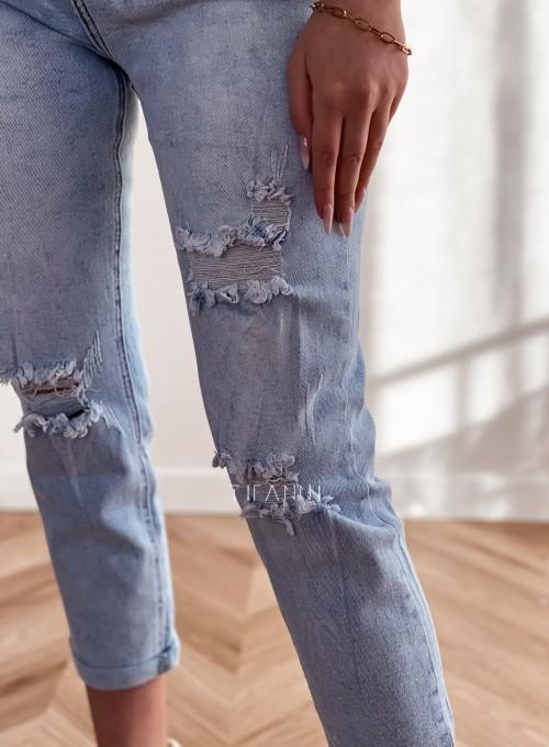 Spodnie jeansowe Mom Fit z przetarciami 1
