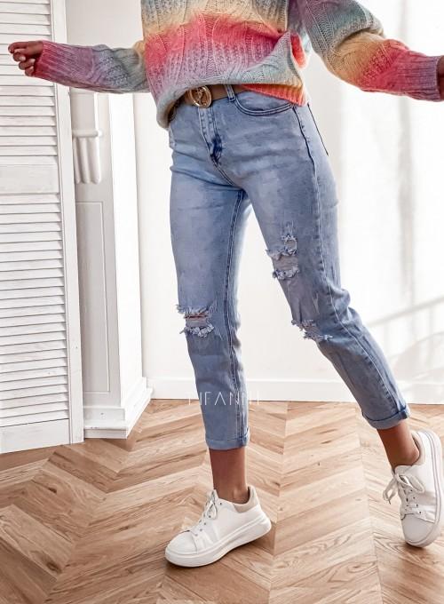 Spodnie jeansowe Mom Fit z przetarciami 4
