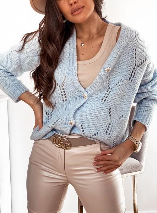 Sweter Casil rozpinany błękitny 1
