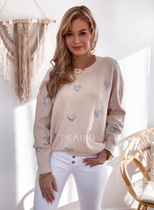 Sweter Heart beżowy 3