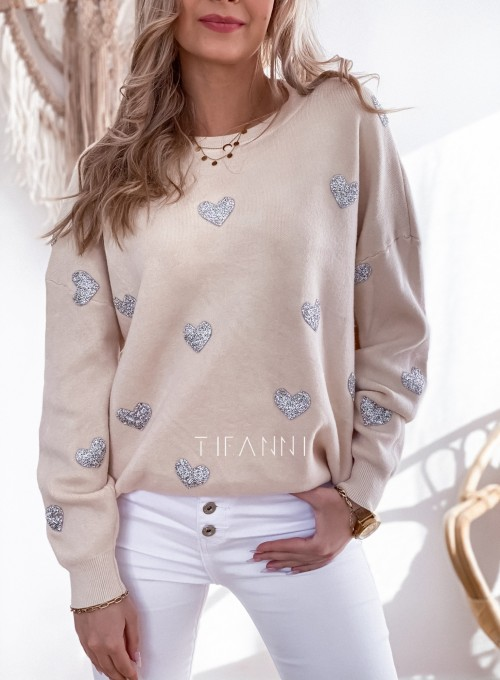 Sweter Heart beżowy 1