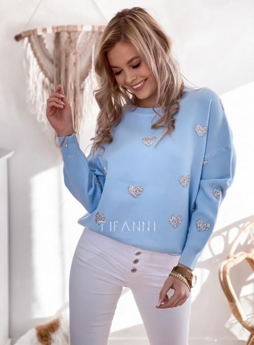 Sweter Heart błękitna 4