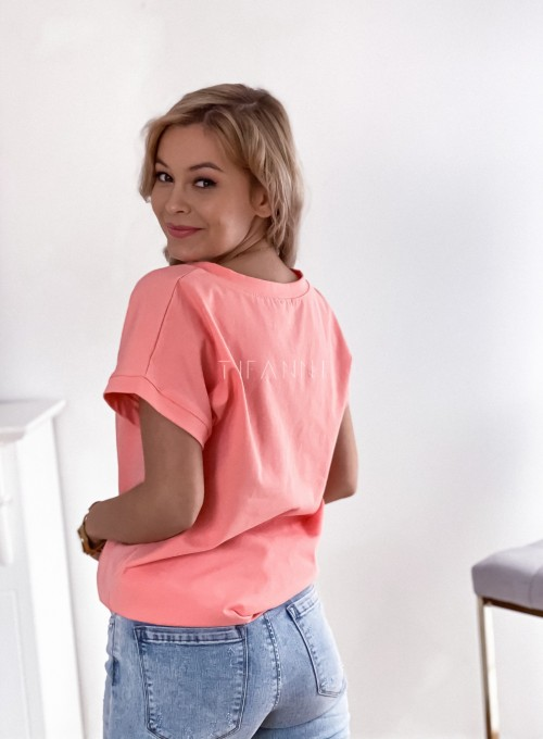 T-shirt z dekoltem w V brzoskwiniowy 1