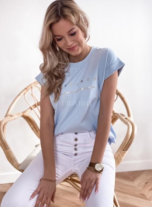 T-shirt happiness błękitny 3