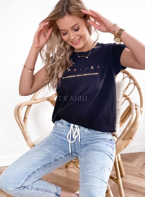 T-shirt happiness czarny 4