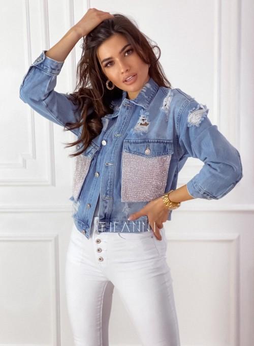 Jeansowa kurtka typu katana z cekinowymi kieszeniami