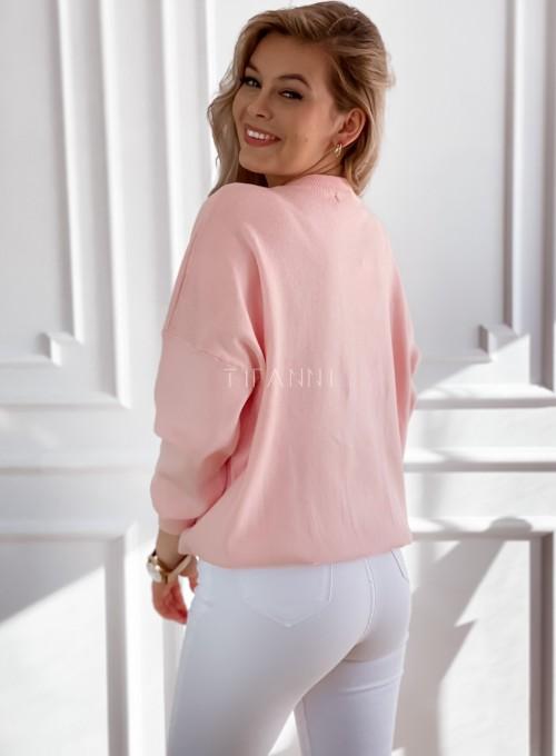 Bluza swetrowa dzianinowa Vogue pudrowa 5