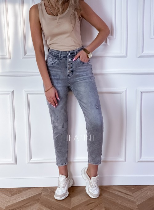 Spodnie jeansowe Mom Fit Verra szare 6
