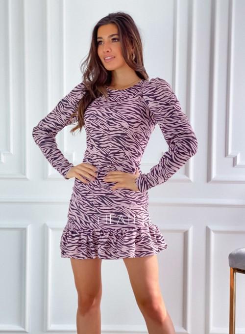 Sukienka Zebra pudrowo-czarna 4