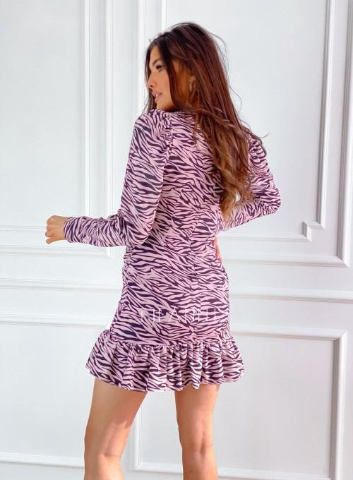 Sukienka Zebra pudrowo-czarna 5