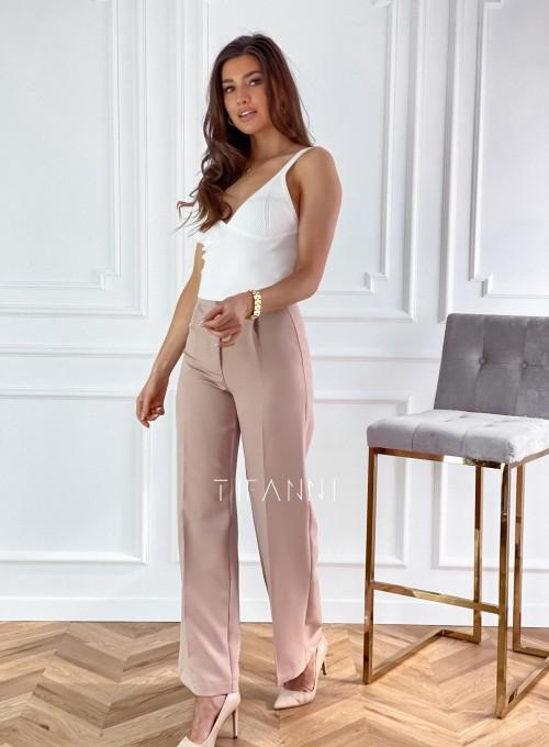 Eleganckie spodnie Salin beżowe 3