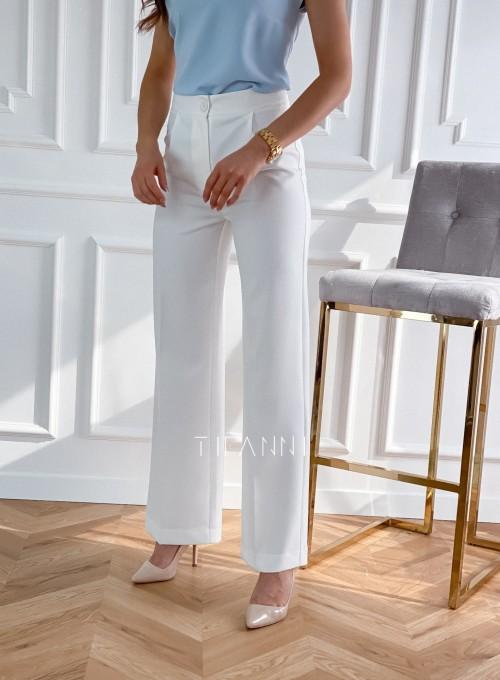 Eleganckie spodnie Salin śmietankowe