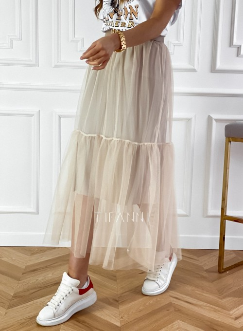 Spódnica Panti beżowa odcinana