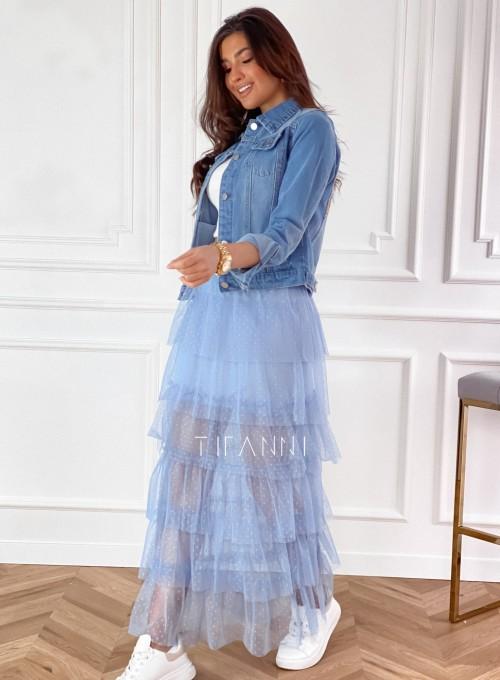 Spódnica z falbankami Carmen błękitna 1