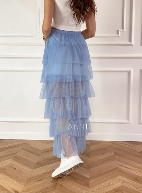 Spódnica z falbankami Carmen błękitna 4