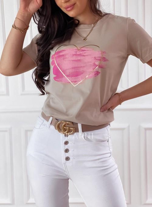 T-shirt Carmela beżowy 1
