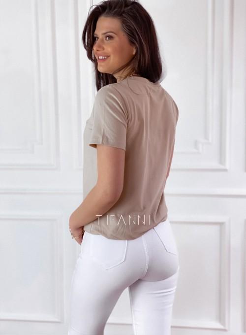 T-shirt Carmela beżowy 5