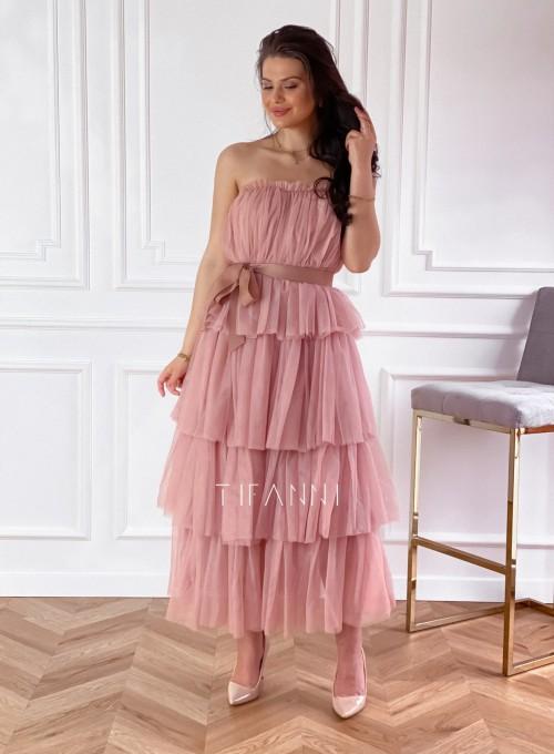Sukienka z falbankami Giovani brudny róż 3
