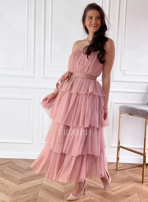 Sukienka z falbankami Giovani brudny róż 4