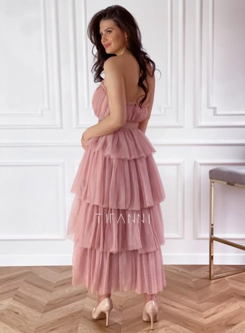 Sukienka z falbankami Giovani brudny róż 1