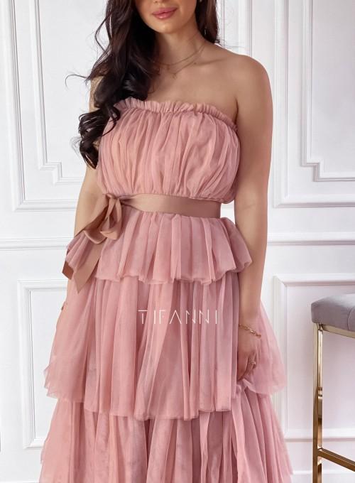 Sukienka z falbankami Giovani brudny róż 2