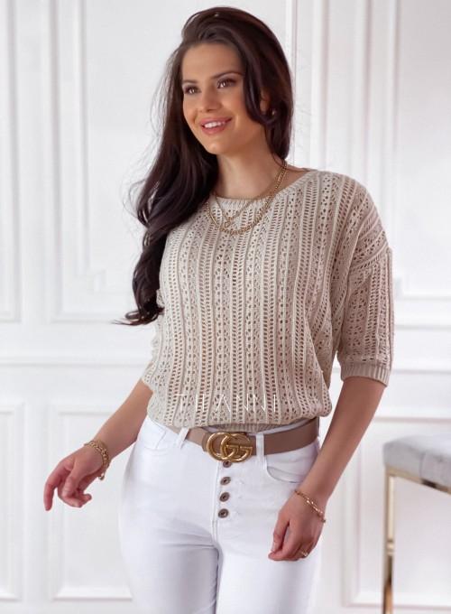 Ażurkowy sweter Donni beżowy