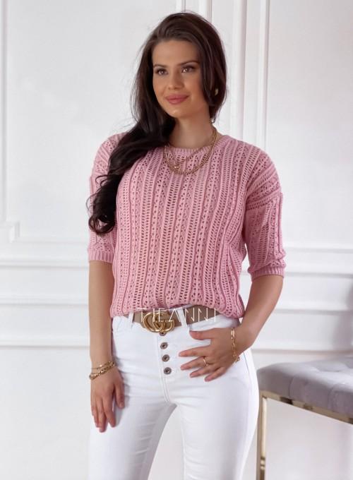 Ażurkowy sweter Donni pudrowy