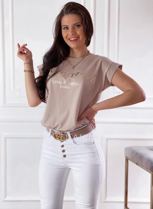 T-shirt Saint Love beżowy 3