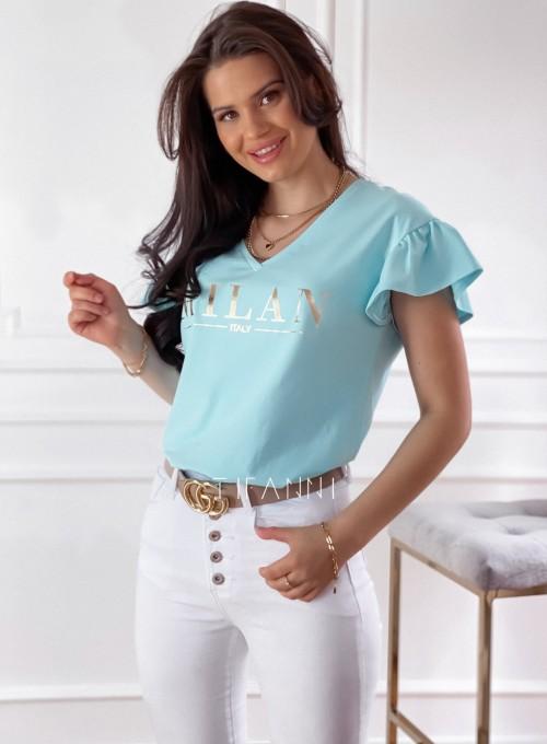 T-shirt z falbanką na rękawie Milan miętowy