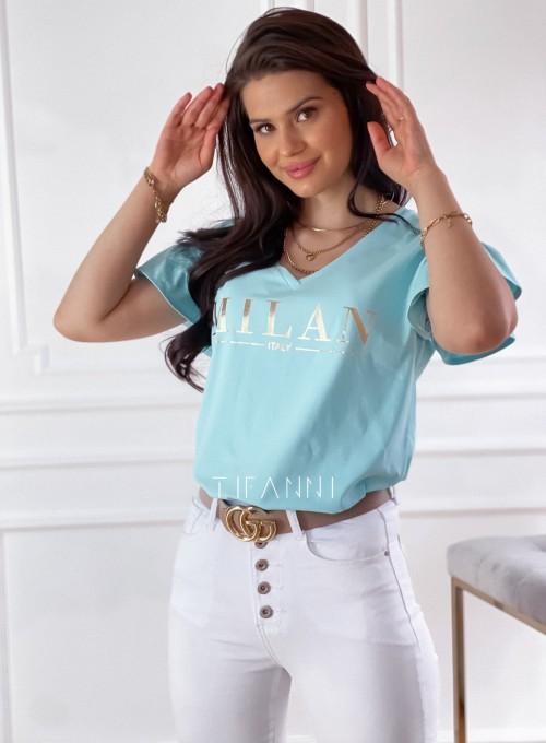 T-shirt z falbanką na rękawie Milan miętowy 3