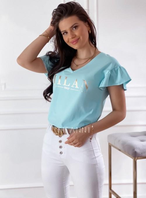 T-shirt z falbanką na rękawie Milan miętowy 4