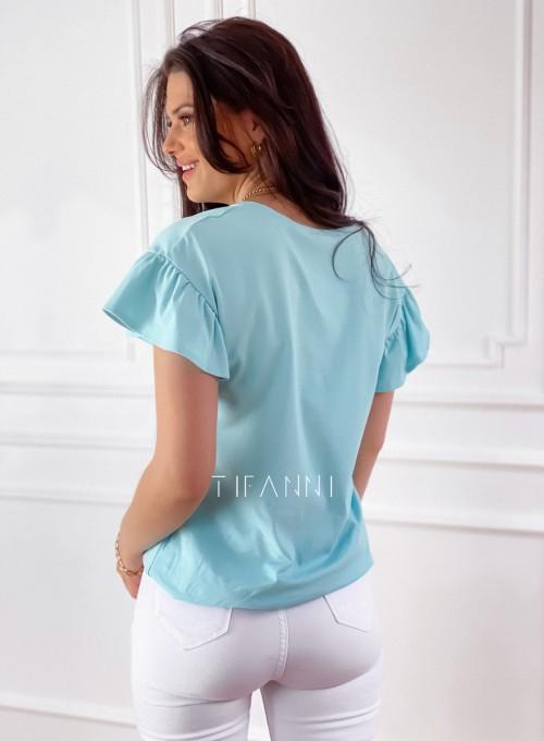 T-shirt z falbanką na rękawie Milan miętowy 5