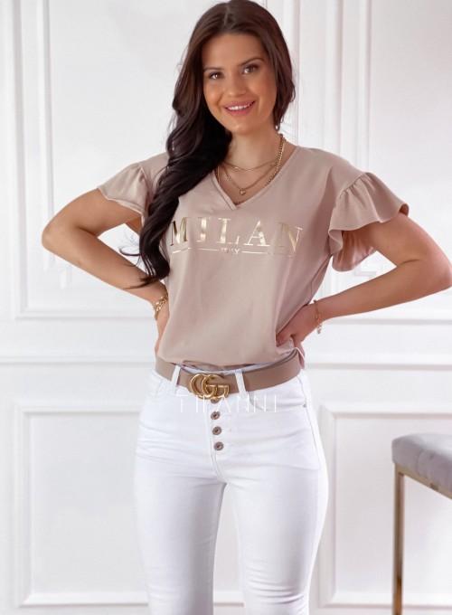T-shirt z falbanką na rękawie Milan beżowy 4
