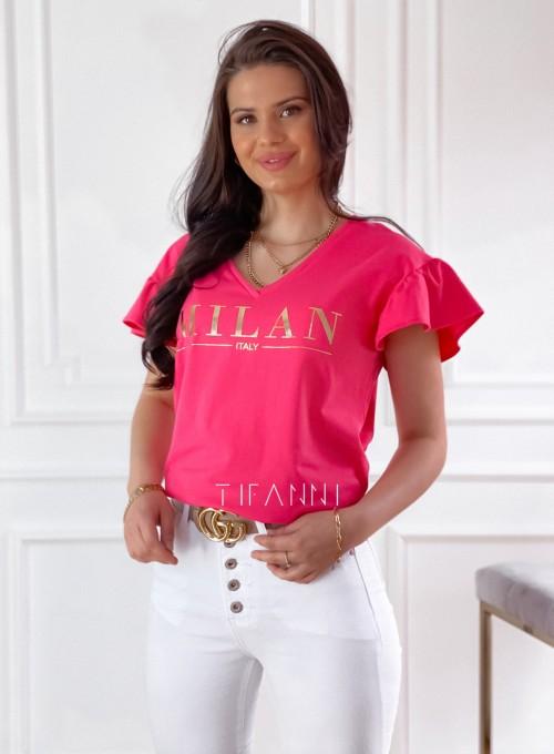 T-shirt z falbanką na rękawie Milan koralowy 3
