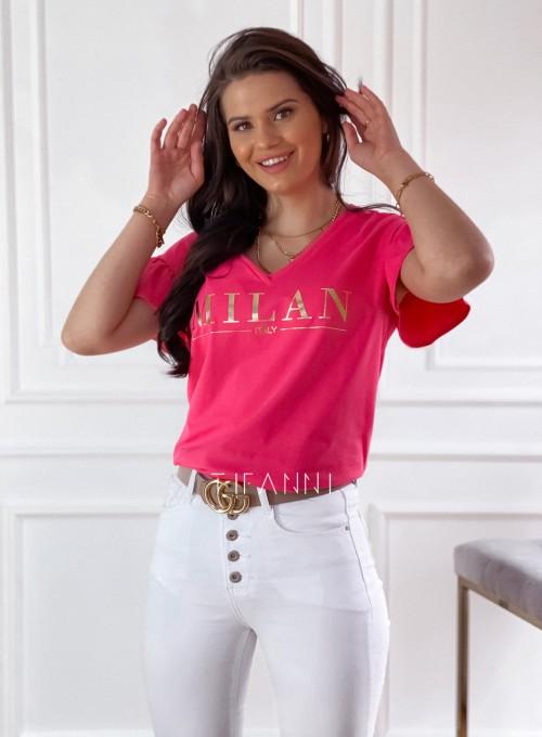 T-shirt z falbanką na rękawie Milan koralowy 4