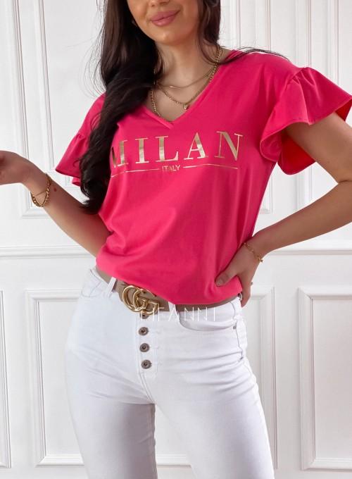 T-shirt z falbanką na rękawie Milan koralowy 1