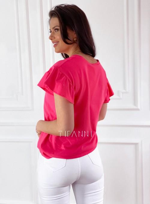 T-shirt z falbanką na rękawie Milan koralowy 5