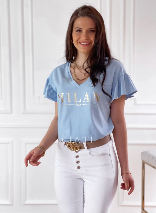 T-shirt z falbanką na rękawie Milan blue 2