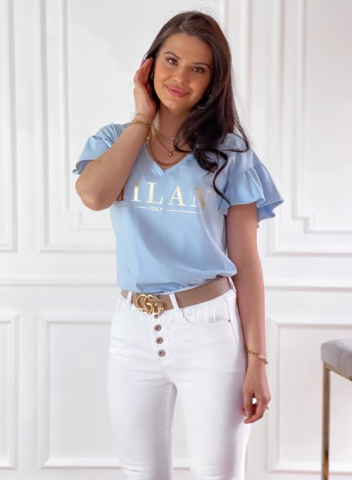 T-shirt z falbanką na rękawie Milan blue 3