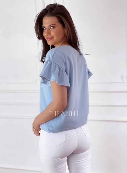 T-shirt z falbanką na rękawie Milan blue 4