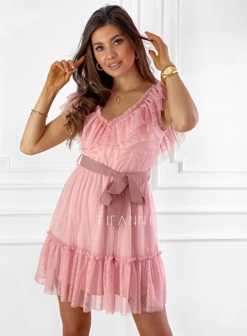 Zwiewna sukienka z żabotem Milly