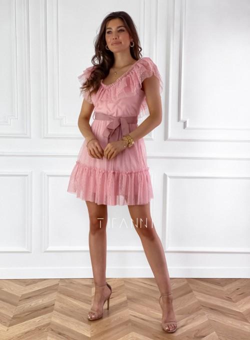 Zwiewna sukienka z żabotem Milly 5